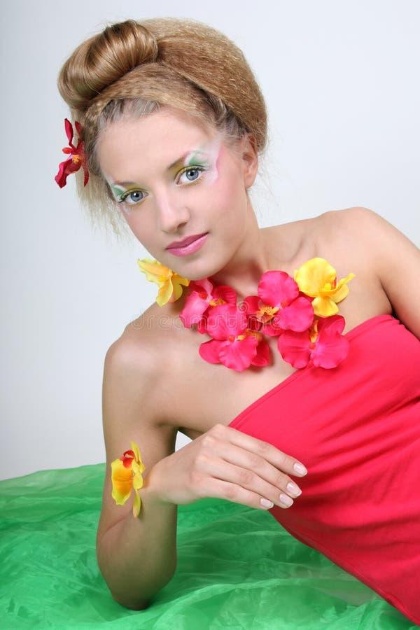 美丽的创造性的花组成妇女 图库摄影