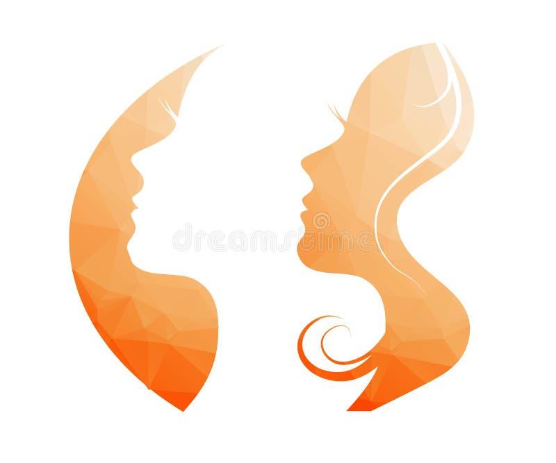 美丽的剪影妇女年轻人 向量例证