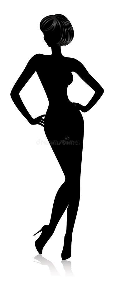 美丽的剪影妇女 库存例证