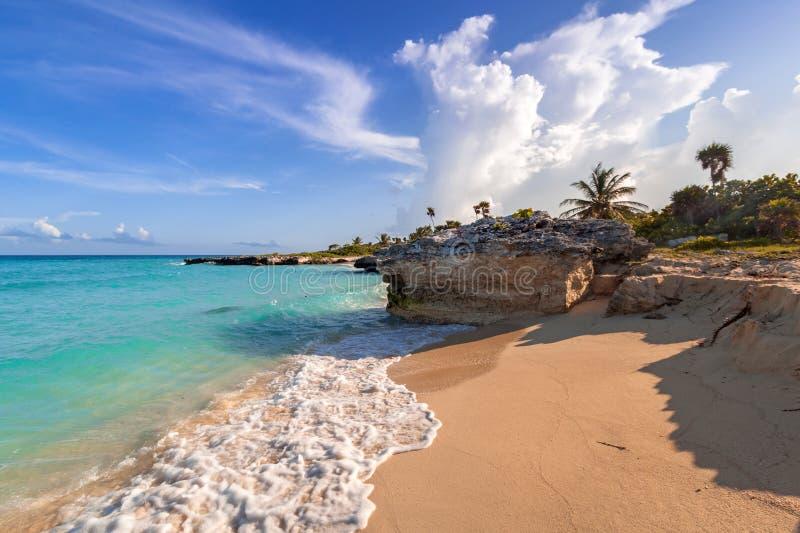 美丽的加勒比海海滩在普拉亚德尔卡曼,墨西哥 免版税库存照片