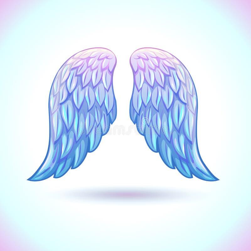 美丽的动画片天使翼 向量例证