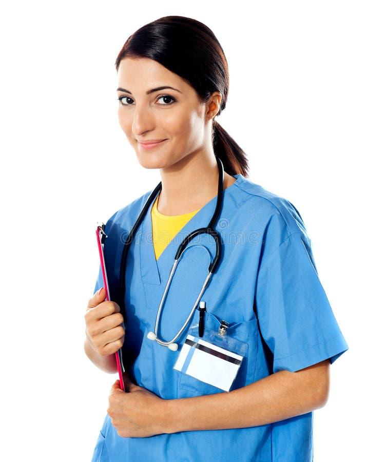 美丽的医生夫人听诊器 免版税库存图片
