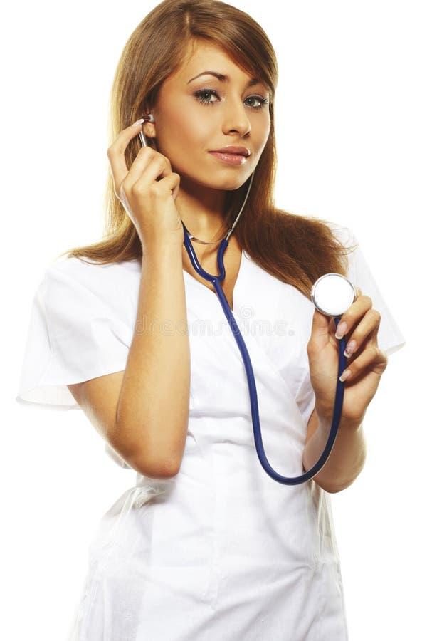 美丽的医生女性查出白色 库存照片
