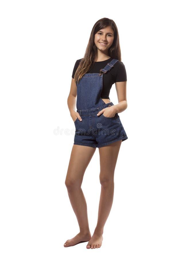 美丽的十几岁的女孩全长画象 图库摄影