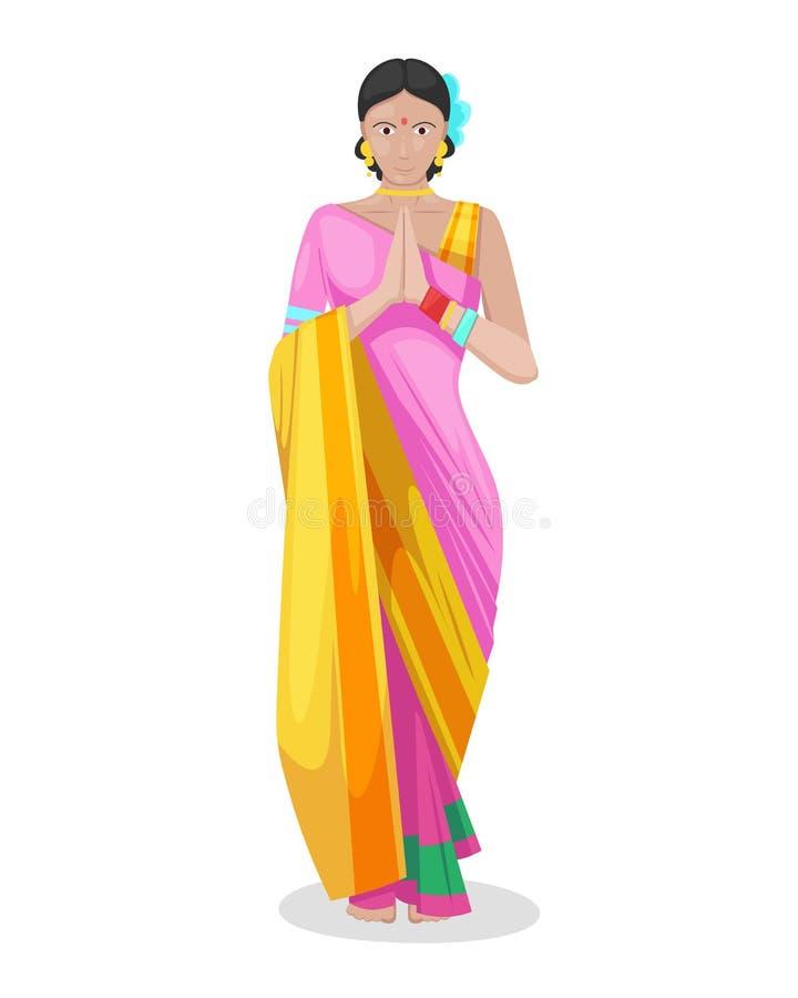 美丽的印地安女孩,五颜六色的传统礼服莎丽服的妇女 皇族释放例证