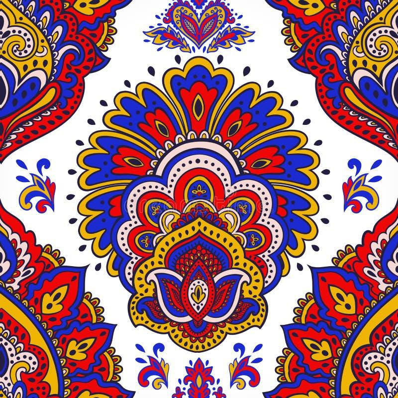 美丽的印地安花卉无缝的装饰品 种族坛场 无刺指甲花 库存例证
