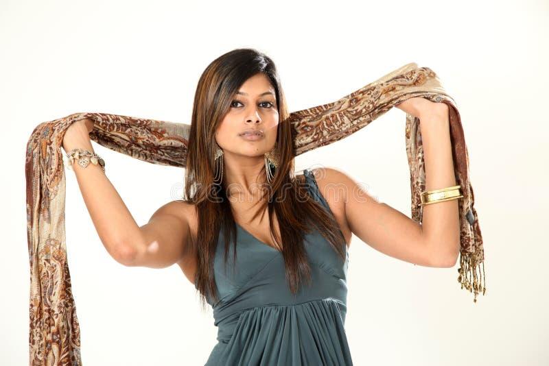 美丽的印第安夫人年轻人 免版税图库摄影