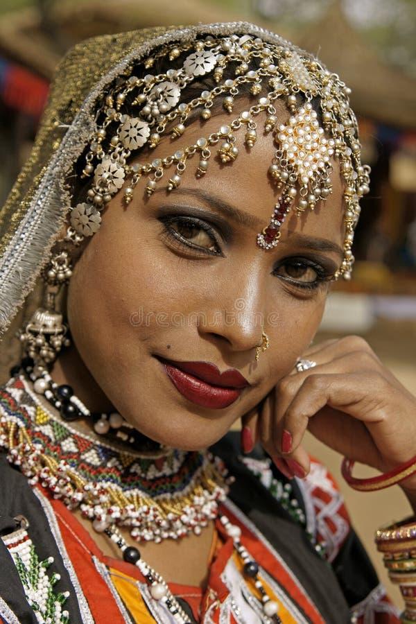 美丽的印第安夫人 图库摄影