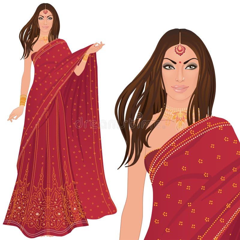 美丽的印第安妇女 库存例证