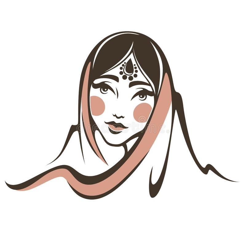 美丽的印第安妇女 向量例证