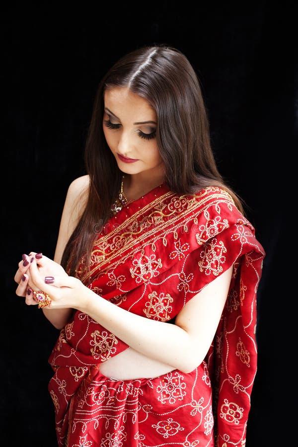 美丽的印第安妇女 库存照片
