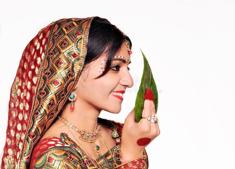 美丽的印第安新娘。 免版税库存图片
