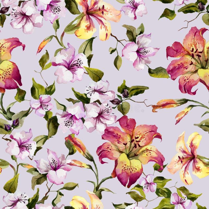 美丽的卷丹和小桃红色花在枝杈反对轻的淡紫色背景 无缝花卉的模式 水彩paintin 皇族释放例证
