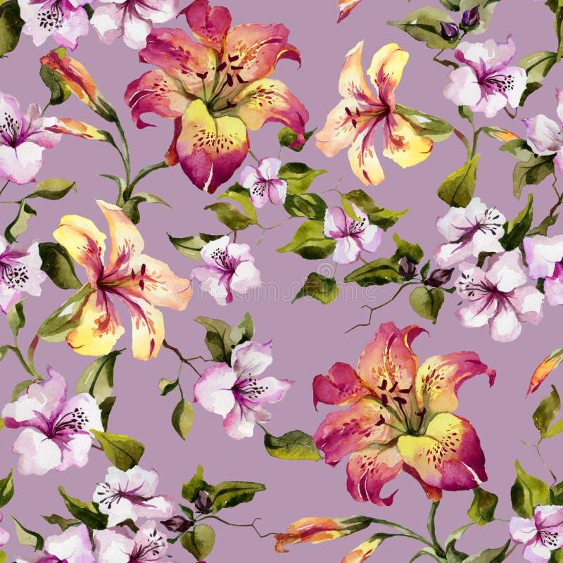 美丽的卷丹和小紫色花在枝杈反对淡紫色背景 无缝花卉的模式 多孔黏土更正高绘画photoshop非常质量扫描水彩 皇族释放例证