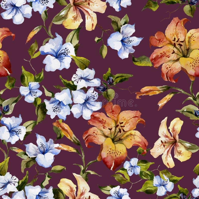 美丽的卷丹和小蓝色花在枝杈反对桃红色的背景 无缝花卉的模式 多孔黏土更正高绘画photoshop非常质量扫描水彩 皇族释放例证