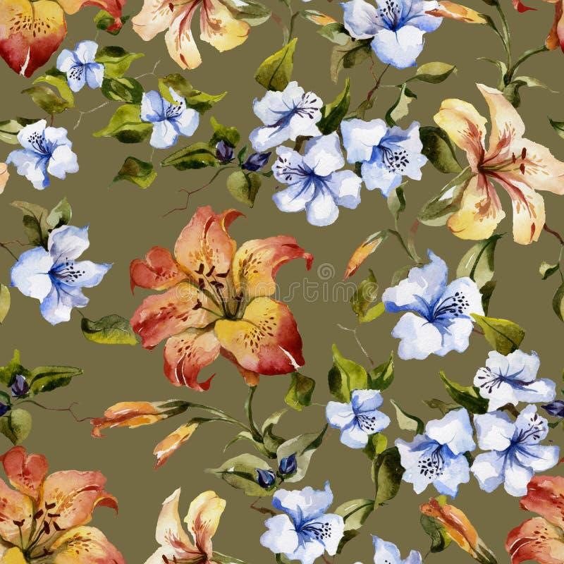 美丽的卷丹和小蓝色花在枝杈反对绿色背景 无缝花卉的模式 多孔黏土更正高绘画photoshop非常质量扫描水彩 向量例证