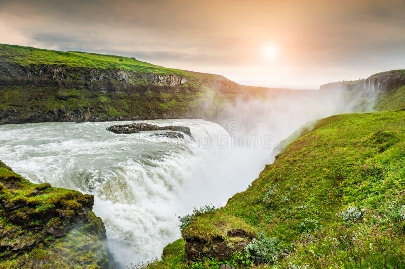 美丽的古佛斯瀑布瀑布 冰岛 库存图片
