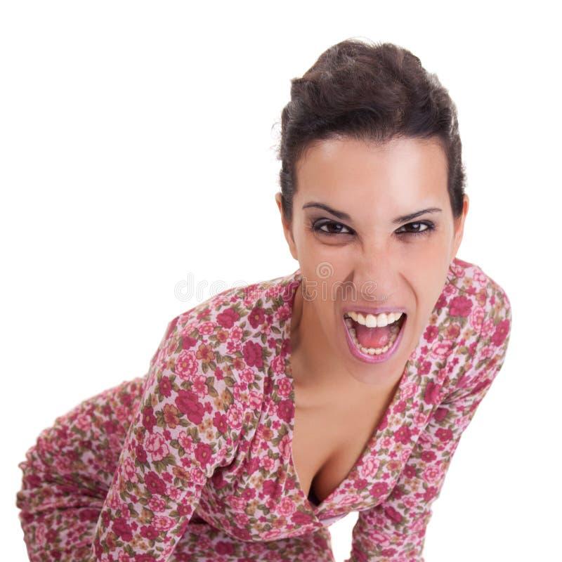 美丽的叫喊的妇女 图库摄影