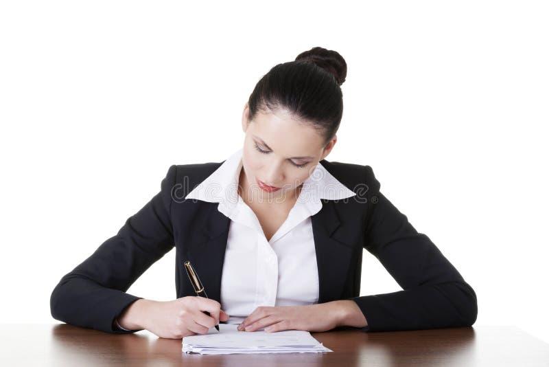 美丽的可爱的公司律师女商人。 免版税库存图片