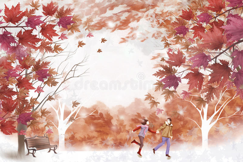 美丽的叶子和年轻夫妇-图表绘画纹理 库存例证