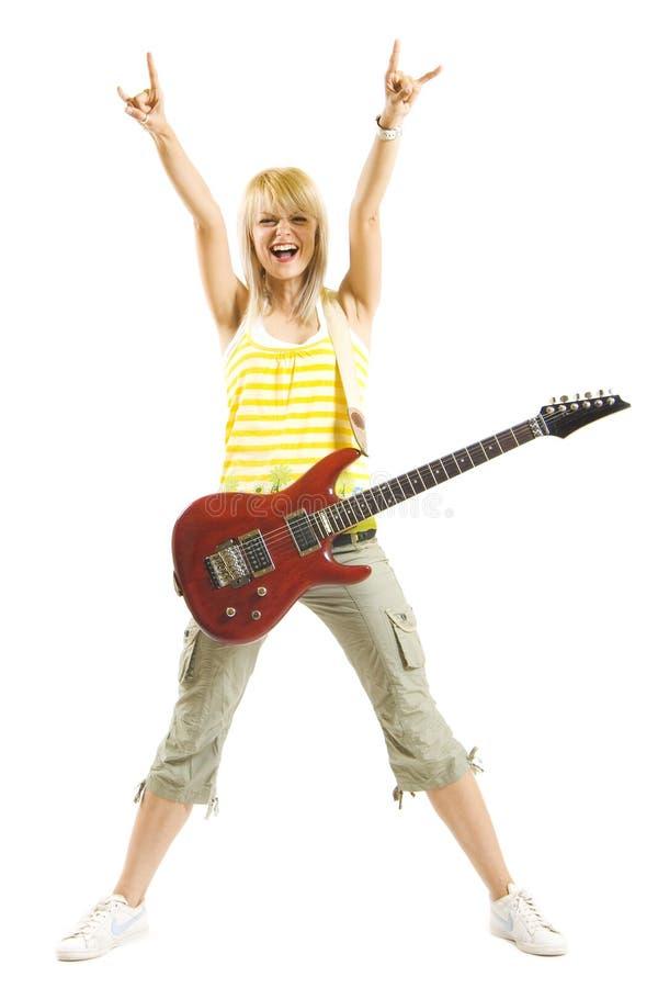 美丽的吉他妇女 库存照片