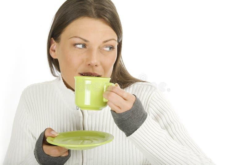 美丽的咖啡杯妇女 图库摄影