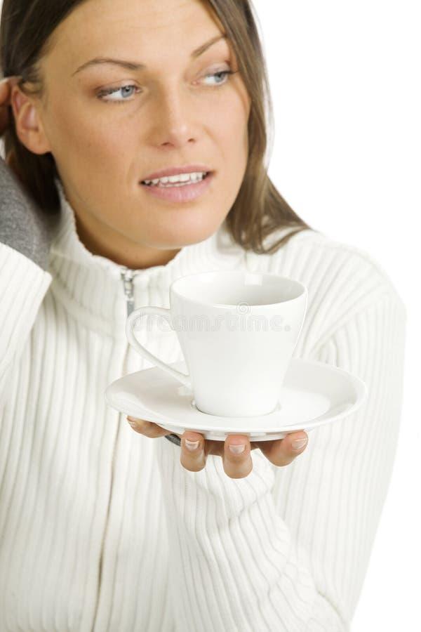 美丽的咖啡杯妇女 库存照片