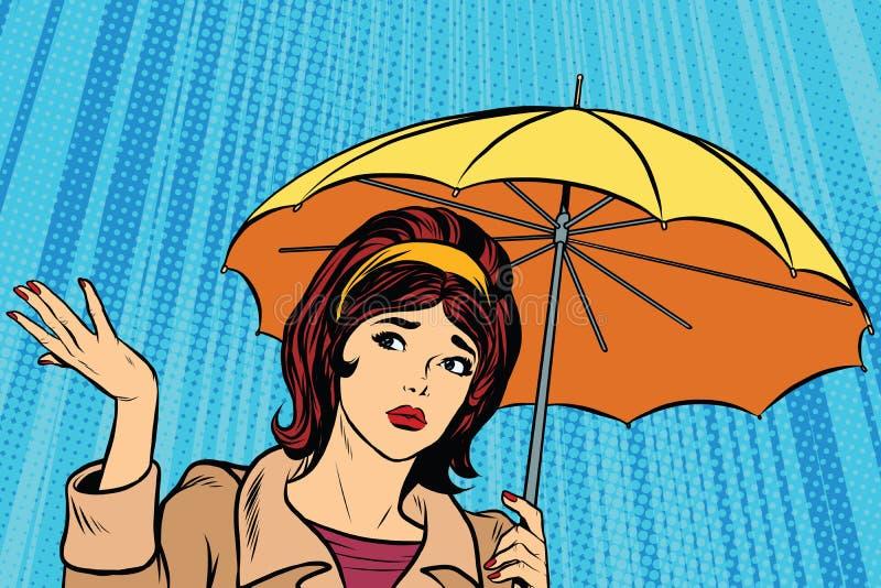美丽的哀伤的女孩在与伞,恶劣天气的雨中 库存例证