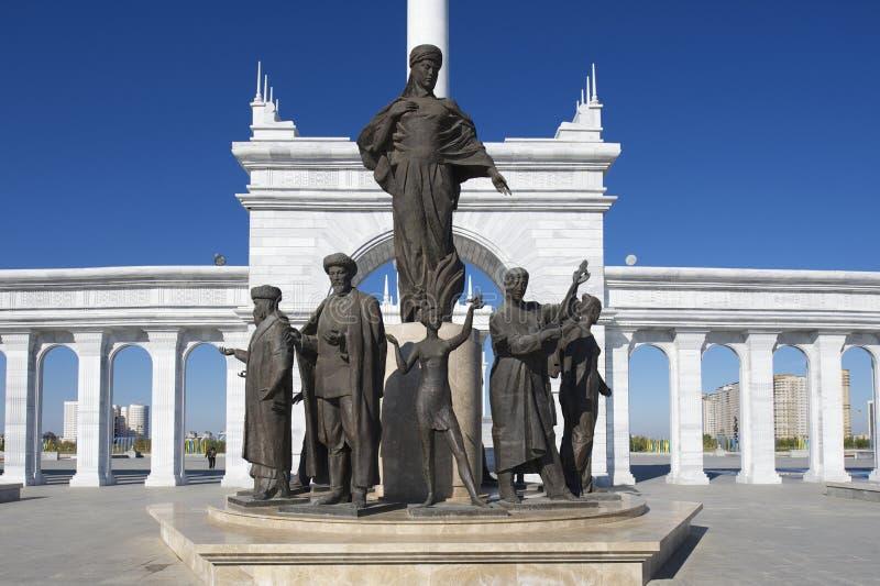 美丽的哈萨克人伊莱纪念碑的外部在阿斯塔纳,哈萨克斯坦 免版税图库摄影