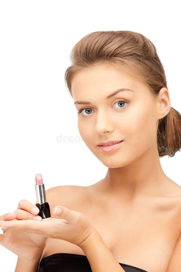 美丽的唇膏妇女 免版税库存图片