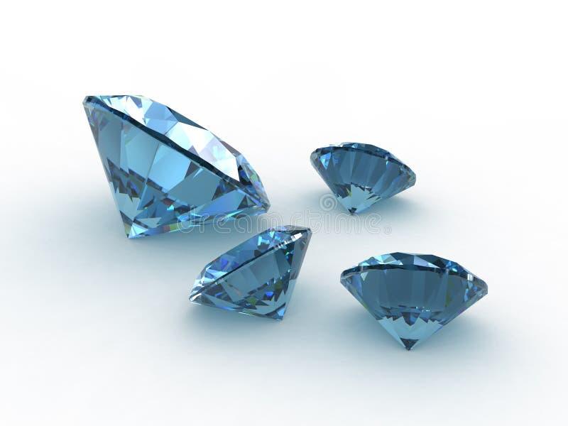 美丽的四颗宝石设置了黄玉 库存例证