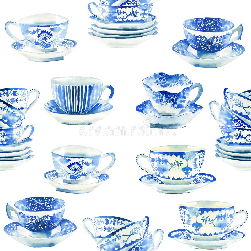 美丽的图表可爱的艺术性的嫩美妙的蓝色瓷瓷茶杯仿造水彩 库存例证