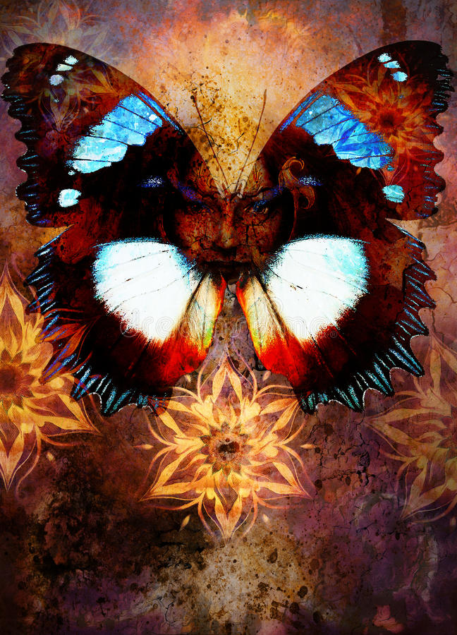 美丽的图画有装饰坛场和颜色抽象背景和鸟的女神妇女 向量例证