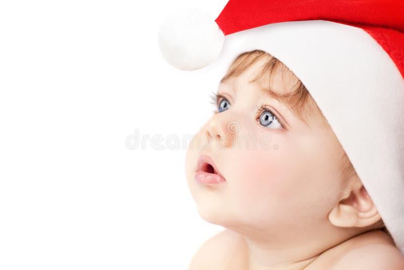 美丽的圣诞老人男婴 图库摄影