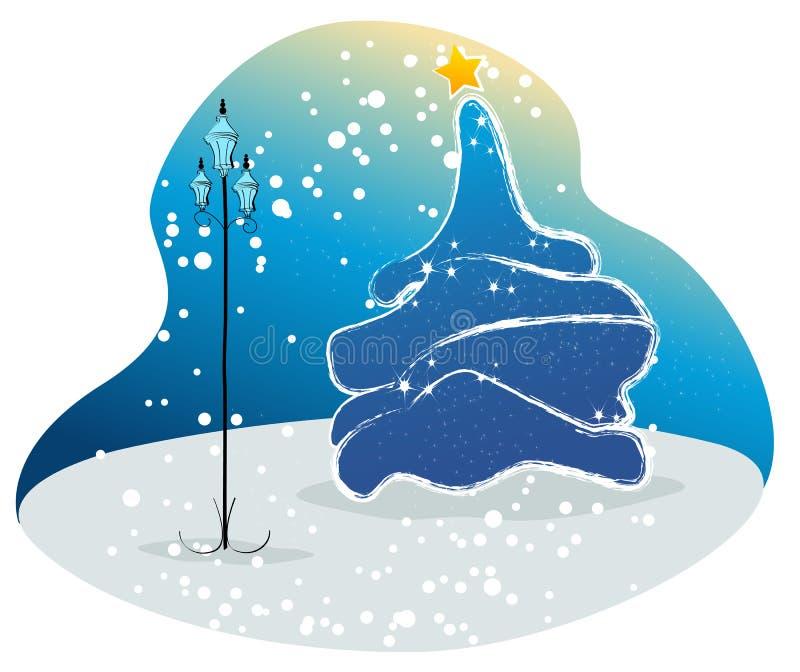 美丽的圣诞节公园结构树 向量例证