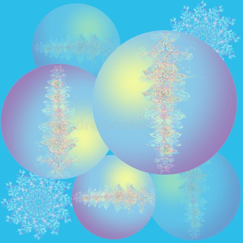 美丽的圣诞节球 新年快乐卡片 与花和透雕细工图象的圣诞节球 背景蓝色 库存例证