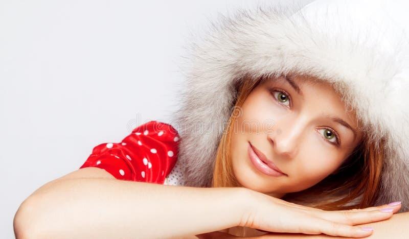 美丽的圣诞节纵向妇女年轻人 免版税库存图片