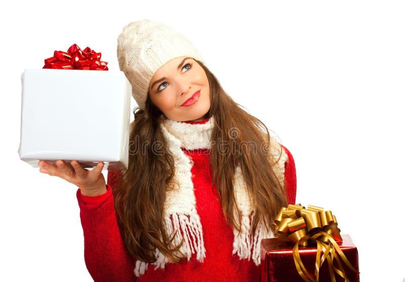 美丽的圣诞节购物妇女 库存图片