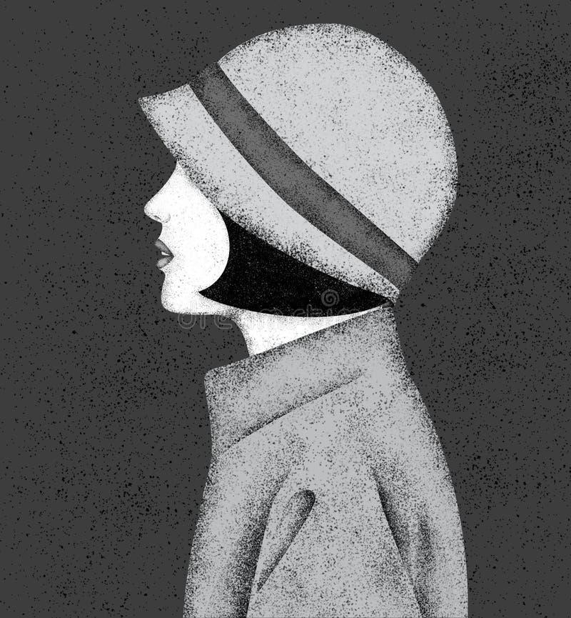 美丽的在减速火箭的样式的女孩佩带的帽子与五谷纹理 向量例证