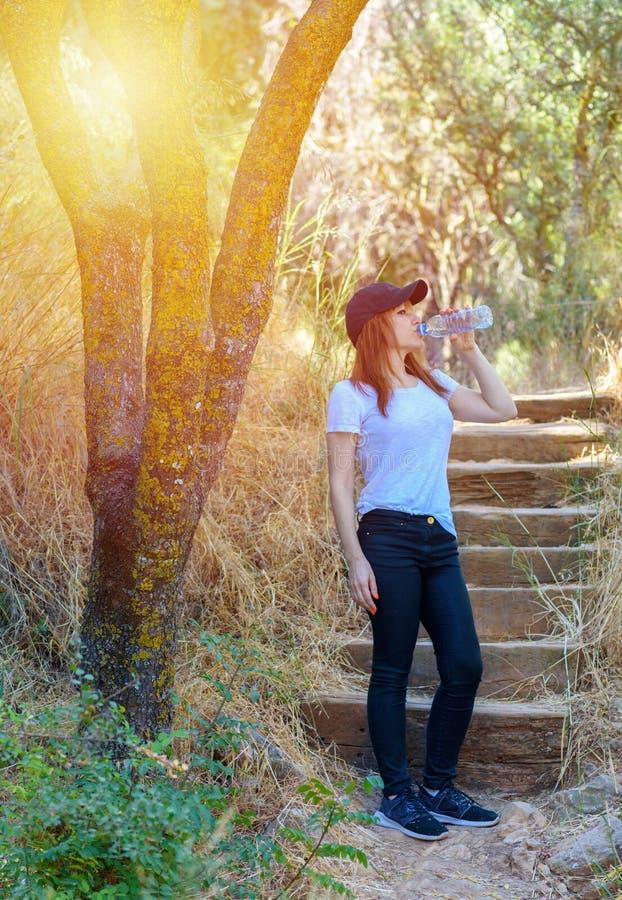 美丽的在旅行或旅行以后的成功运动员妇女饮用水在晴朗的夏日在森林里 库存图片