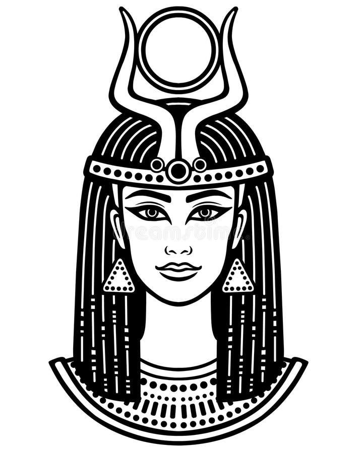 美丽的埃及妇女的动画画象 库存例证