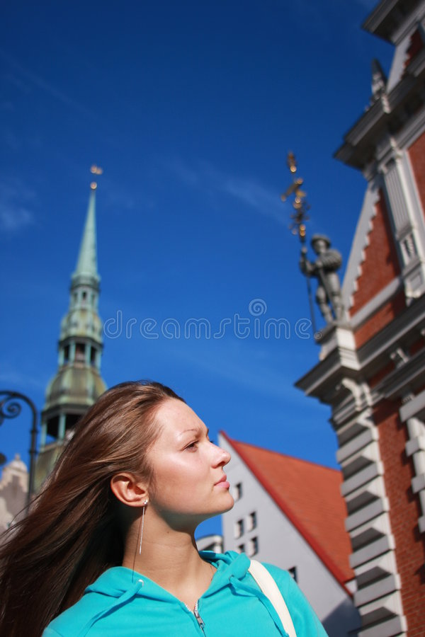 美丽的城市多数老一里加 免版税库存图片