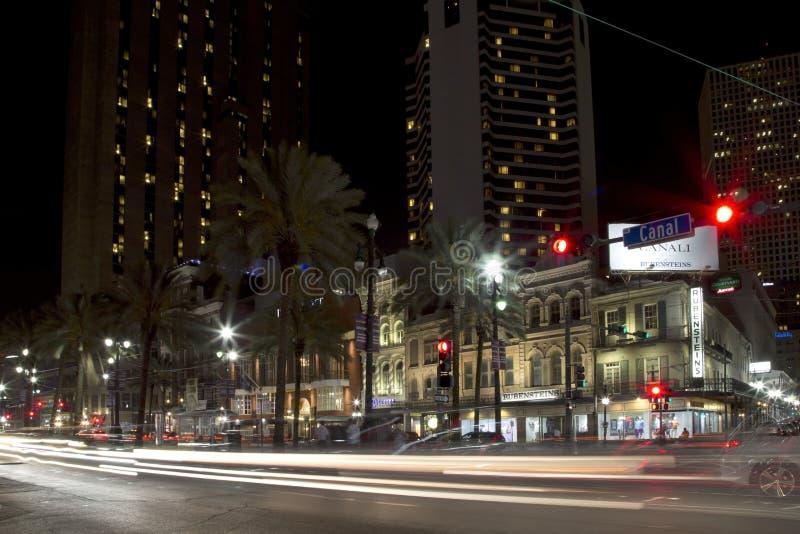 美丽的城市新奥尔良在晚上 库存照片