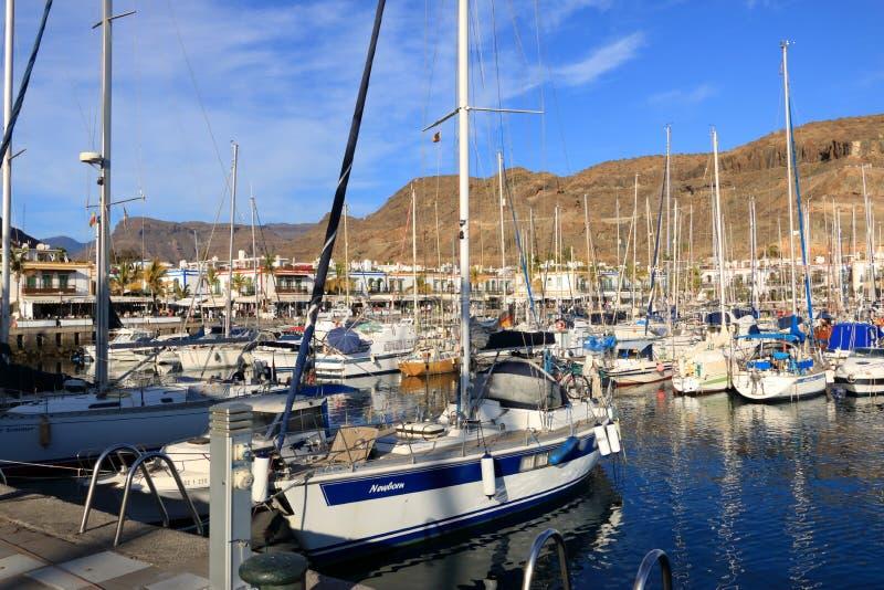 美丽的城市Puerto Mogan在大加那利岛,西班牙 免版税库存图片