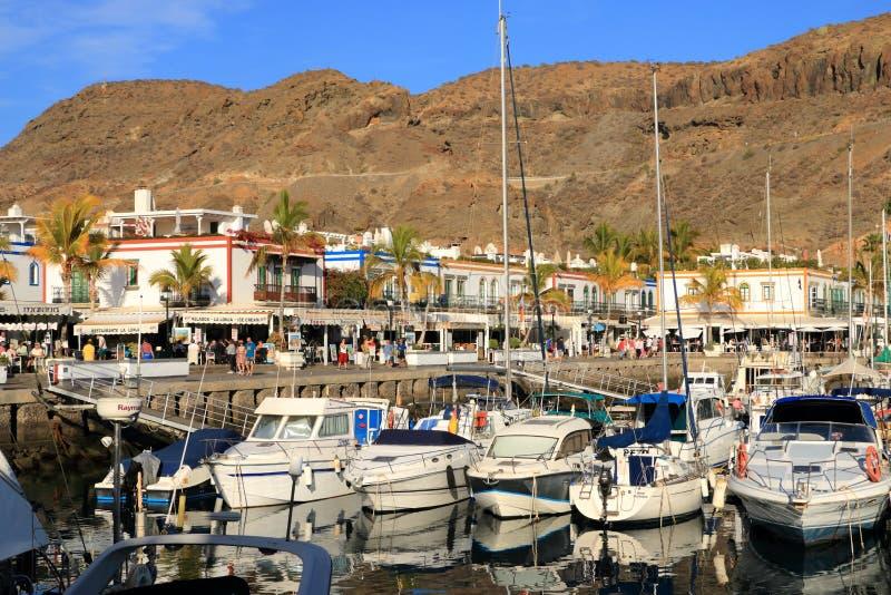 美丽的城市Puerto Mogan在大加那利岛,西班牙 库存照片