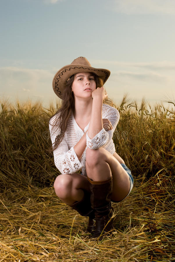 美丽的域女孩日落麦子 库存照片