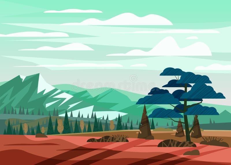 美丽的夏天山风景谷农村乡下,青山,明亮的颜色天空蔚蓝,有山的草甸 向量例证