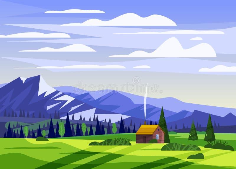 美丽的夏天山风景谷农村农厂房子乡下,青山,明亮的颜色天空蔚蓝,草甸 库存例证