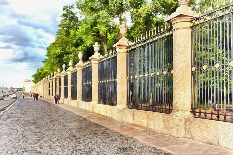 美丽的夏天庭院篱芭和宫殿堤防 库存例证
