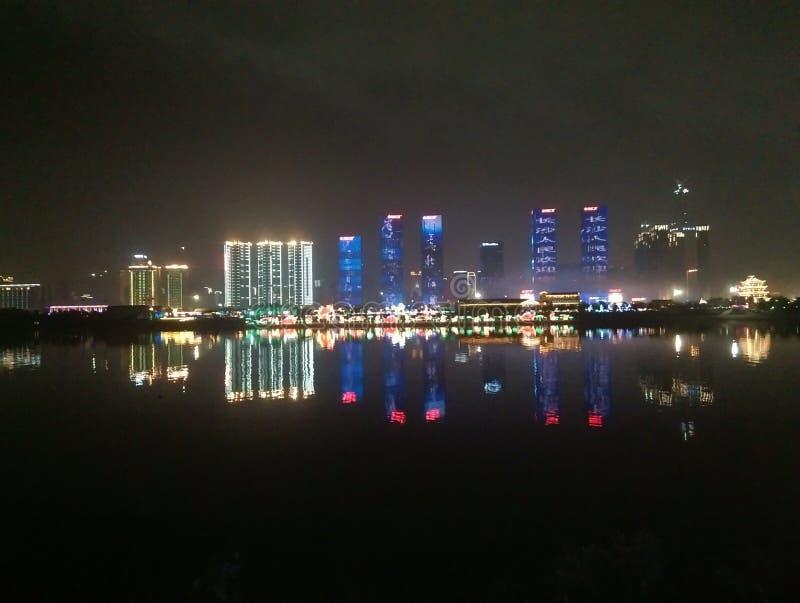 美丽的夜场面万达队广场在长沙中国 库存图片
